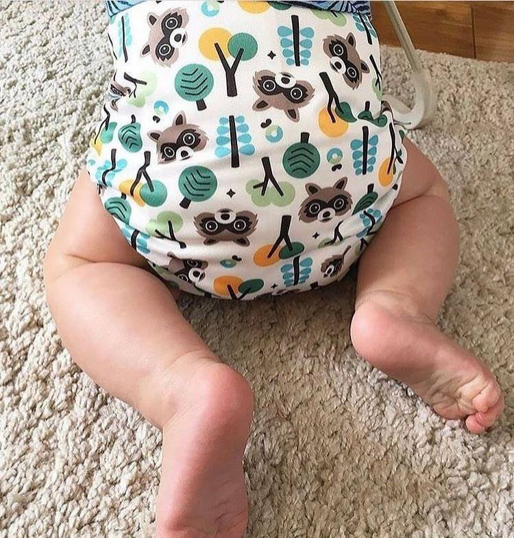 William in his first Bambino Mio nappy in raccoon print
