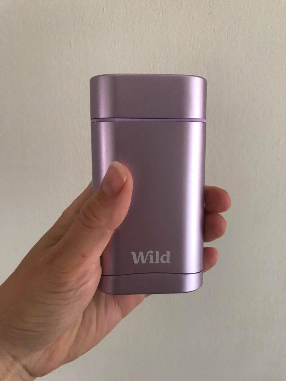 me holding the wild deodorant applicator up