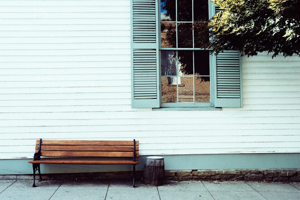 bench outside a home