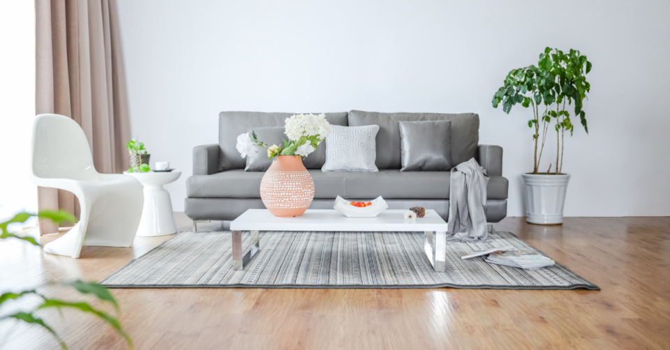 a sofa with pretty cushions, a plant, vase on a table