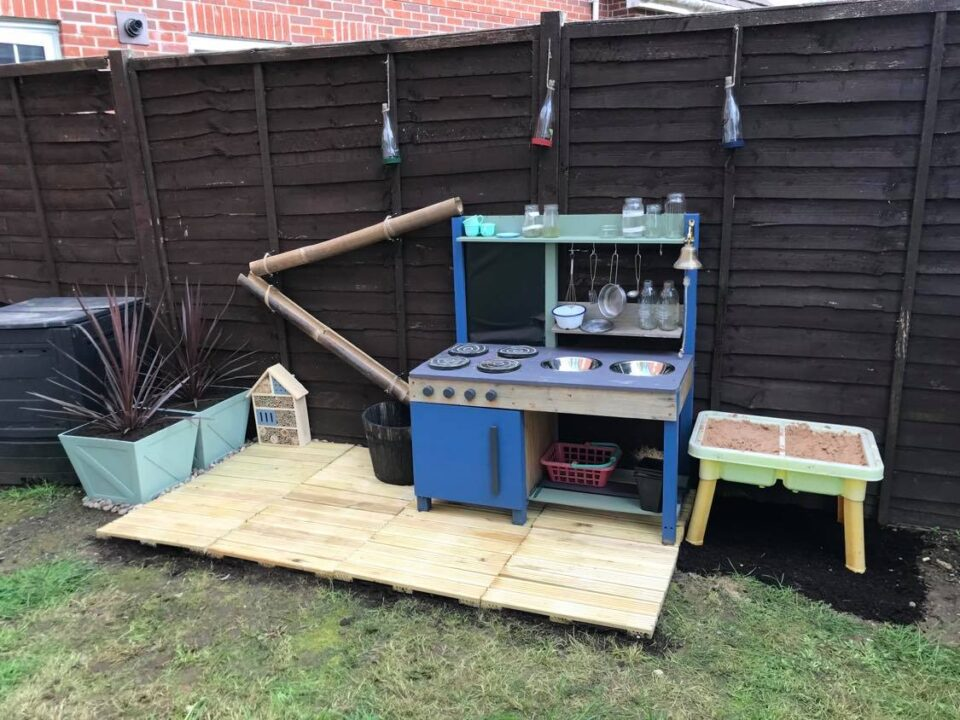 the mud kitchen area made up so far