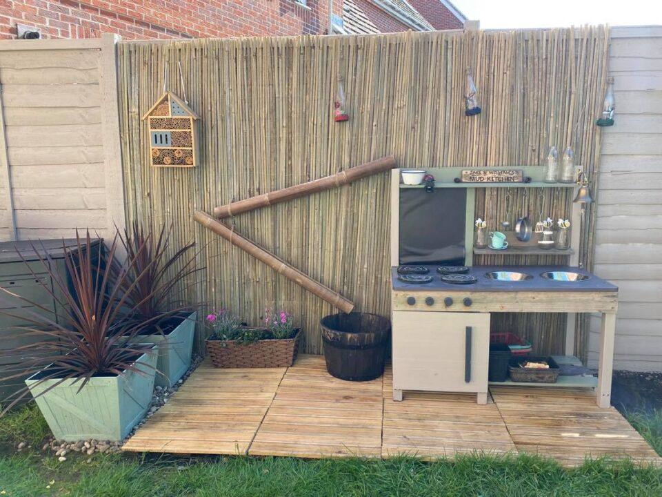 the finished mud kitchen area
