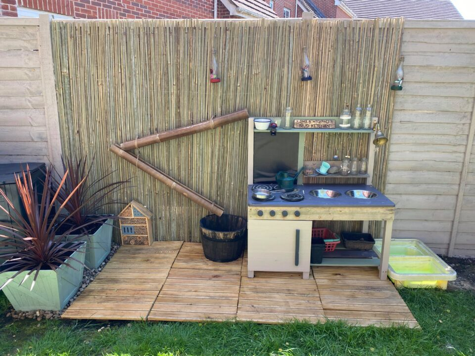 the mud kitchen play area almost complete