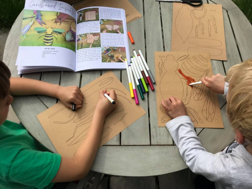 both boys colouring in their chosen insects from the treasure seasons project box