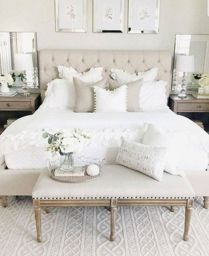 white bed and white room