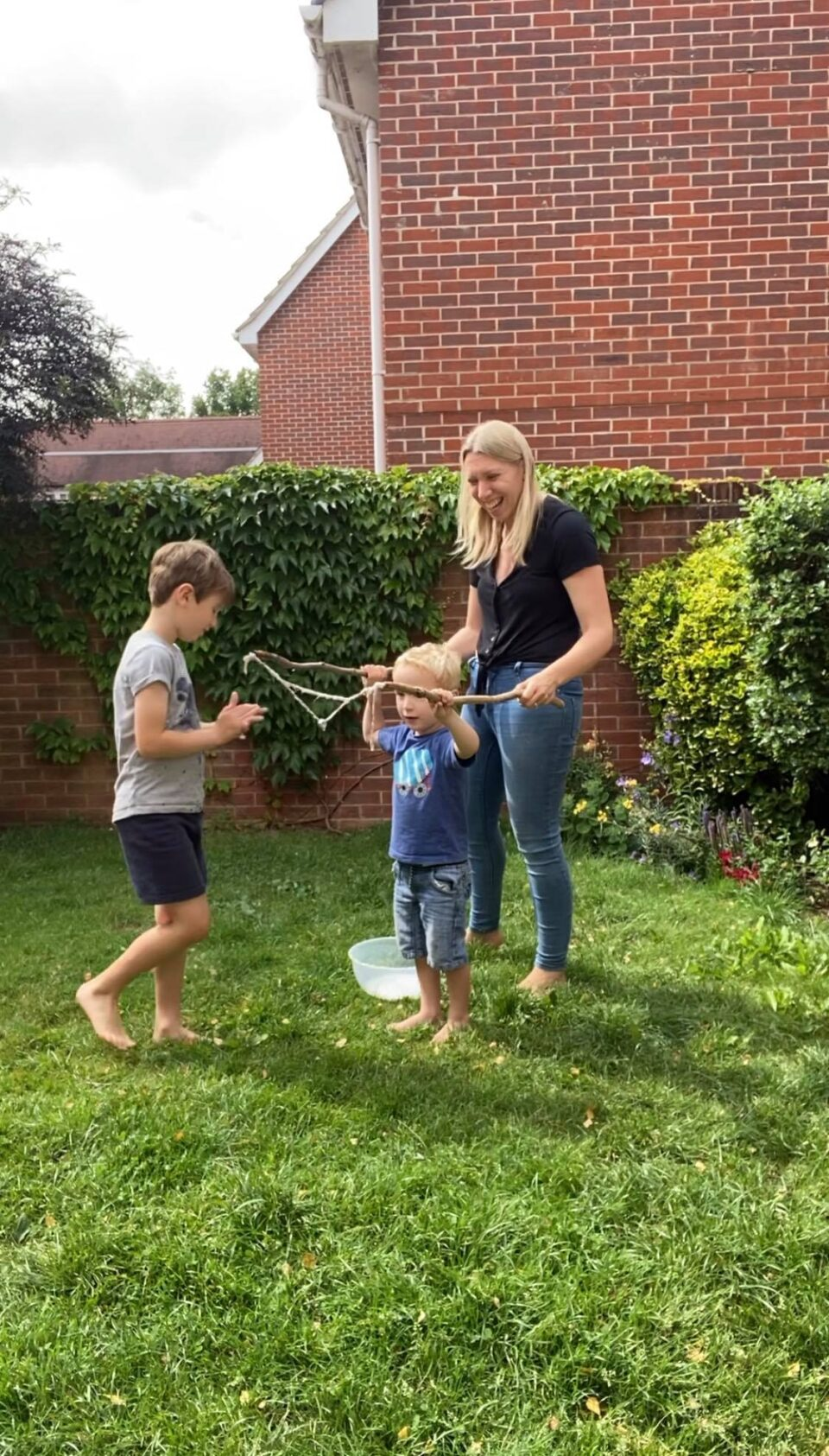 william having a go at making bubbles