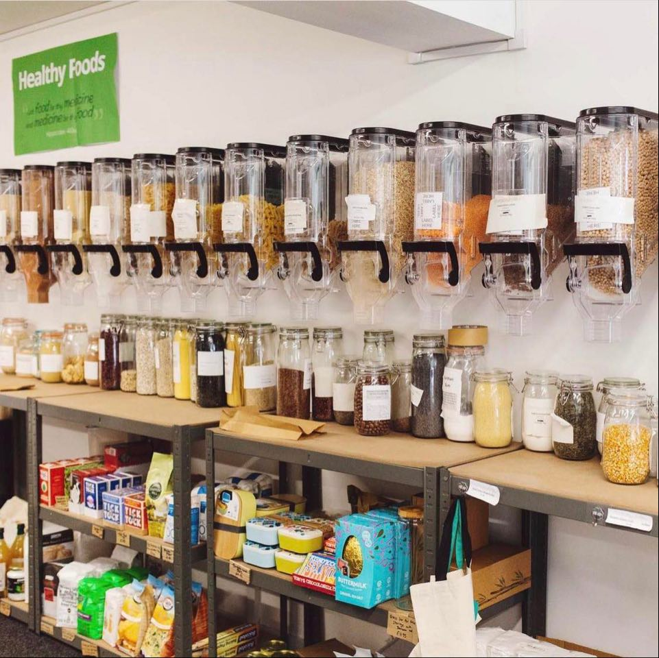 inside a refill store showing all the foods available to fill up and buy