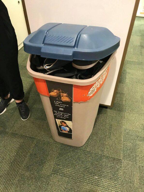 unicef bin on a Clarks shop floor