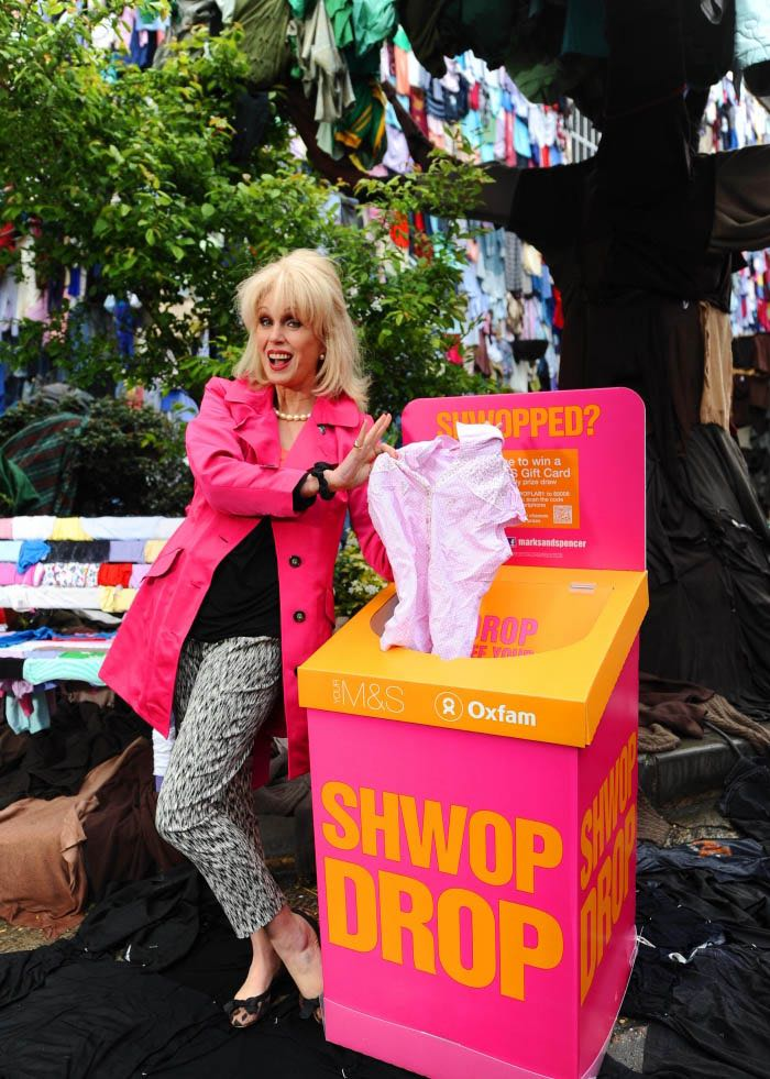 the M&S Shwop box with Joanna Lumley stood next to it