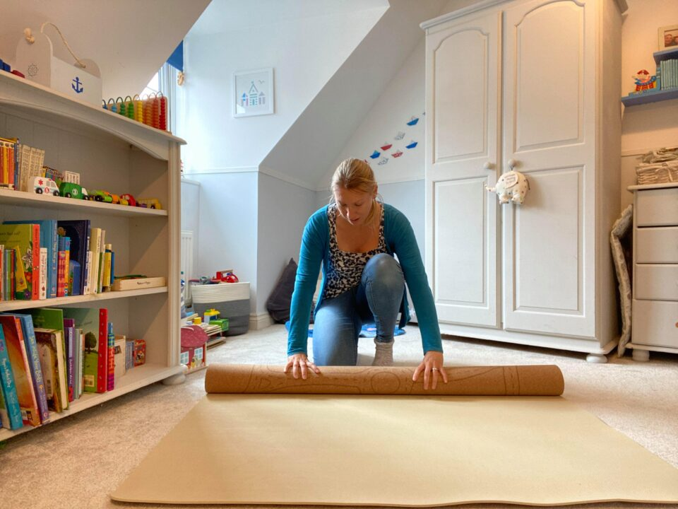 me rolling up the mat in william's room