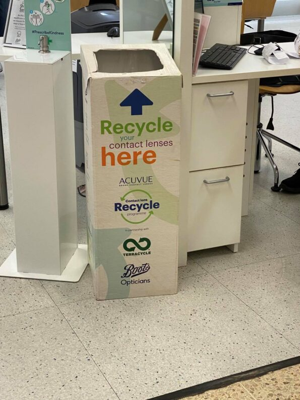 the contact lens recycling box found in Boots