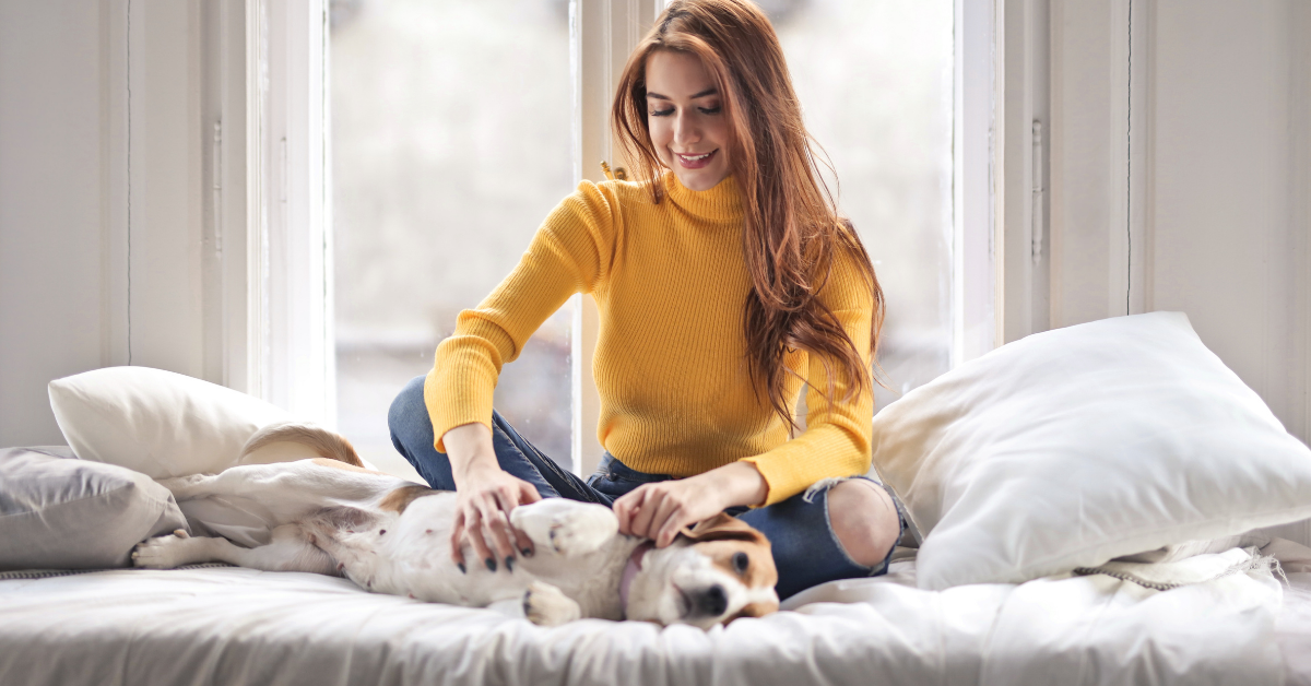 a lady stroking a dog on a bed
