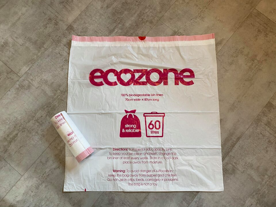 the ecozone bin liners laying on the floor of my kitchen to show how big they are
