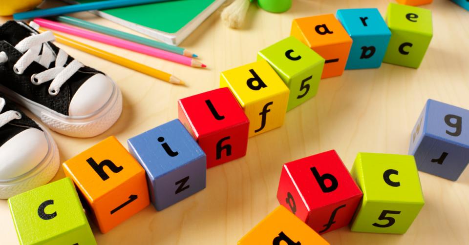 childcare written on childrens play blocks